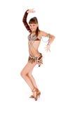 La ragazza in un vestito marrone, pose in studio Fotografia Stock Libera da Diritti