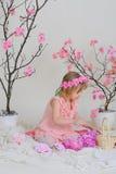 La ragazza in un vestito rosa ed in una corona sulla sua testa Immagine Stock