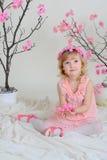 La ragazza in un vestito rosa ed in una corona sulla sua testa Immagine Stock Libera da Diritti