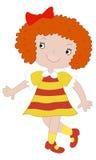 La ragazza in un vestito rosso-giallo Fotografia Stock