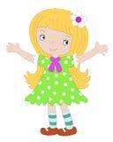 La ragazza in un vestito verde Immagine Stock