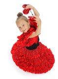 La ragazza in uno Spagnolo rosso Fotografia Stock Libera da Diritti