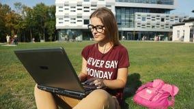 La ragazza utilizza il computer portatile su erba video d archivio