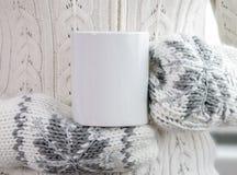 La ragazza in vestiti e guanti caldi sta tenendo la tazza bianca in mani Fotografia Stock Libera da Diritti