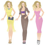 La ragazza in vestiti tre opzioni Fotografie Stock
