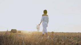 La ragazza in vestito con il cappello cammina lungo il giacimento della paglia Una donna in un vestito blu è sul campo con le bal archivi video