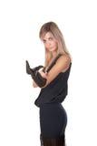 La ragazza in vestito ed in guanti neri Fotografia Stock Libera da Diritti
