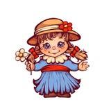 La ragazza in vestito ed il cappello per Festa Junina fanno festa Immagine Stock Libera da Diritti