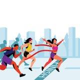 La ragazza vince nella maratona della città Illustrazione piana di vettore Vincitore con il nastro rosso sull'arrivo royalty illustrazione gratis