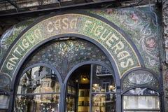 La Rambla,ancient, Antigua Casa Figueras, modernist facade style, after reform, Escriba pastry shop,Barcelona. Royalty Free Stock Images