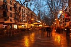 La Rambla in avond. Barcelona Stock Fotografie