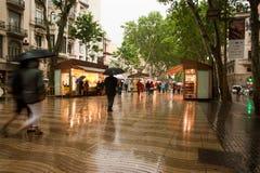 La Rambla Barcelona im Regen
