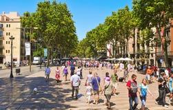 La Rambla, in Barcelona, Spain Stock Images