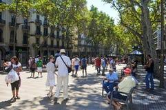 La Rambla, in Barcelona, Spanien Stockbilder