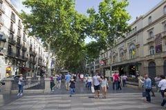 La Rambla in Barcelona, Spanje Stock Afbeeldingen
