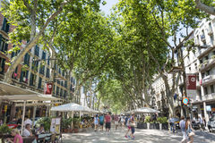 La Rambla in Barcelona, Spanje stock foto