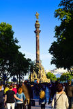 La Rambla and Columbus monument. Barcelona, Catalonia, Spain. People walking down la Rambla to Columbus Monument Stock Images
