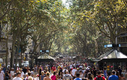 La Rambla crowd Royalty Free Stock Images