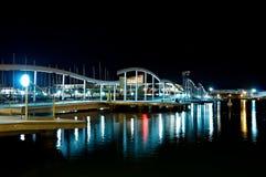 La Rambla de Mar by night, Barcelona Stock Image