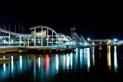 La Rambla de Mar by night, Barcelona Royalty Free Stock Photography