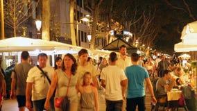 La Rambla in evening.   Barcelona stock footage