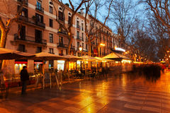 La Rambla in evening. Barcelona, Spain Stock Photos