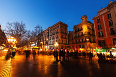 La Rambla in evening. Barcelona, Spain Stock Photo