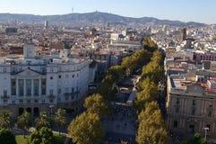 La Rambla i Barcelona Arkivfoto