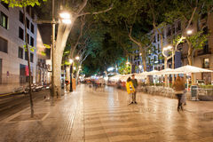 La Rambla at Night  in Barcelona Stock Photography