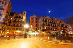 La Rambla in night. Barcelona Royalty Free Stock Image