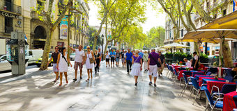 La Rambla op 21 September, 2012 in Barcelona, Spanje. Duizenden Royalty-vrije Stock Foto