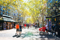 La Rambla on September 14, 2012 in Barcelona, Spain. Stock Photos
