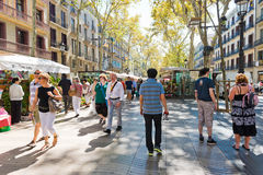 La Rambla on September 14, 2012 in Barcelona, Spain. Stock Image
