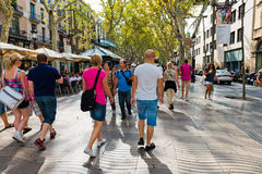 La Rambla on September 21, 2012 in Barcelona, Spain. Thousands Stock Photography