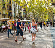 La Rambla on September 21, 2012 in Barcelona, Spain. Thousands Stock Images