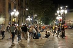 La Rambla Street By Night, Barcelona, Catalonia, Spain Stock Image