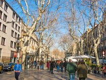 La Rambla street. The most popular street in Barcelona, Spain Stock Images
