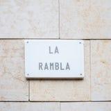 La Rambla street sign Stock Image