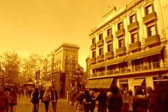 La Rambla street at sunset, Barcelona Stock Images