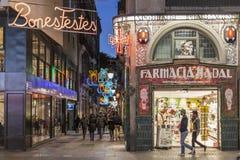 La Rambla, street view scene, christmas decoration, Barcelona. BARCELONA,SPAIN-JANUARY 6,2016: La Rambla, street view scene, christmas decoration, Barcelona Royalty Free Stock Photography