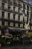 La Ramblas in Barcelona,Spain. Flower shop in the streets of the Rambla stock photo