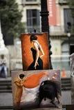La Ramblas in Barcelona,Spain. Frames made by street artists stock image