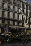 La Ramblas i Barcelona, Spanien Arkivfoto