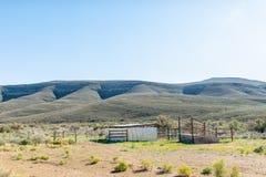 La rampa di recinzioni e di caricamento del bestiame sulla strada R356 Ceres fotografia stock
