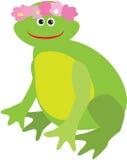 La rana de la historieta con la guirnalda rosada de la flor en ella es cabeza Fotos de archivo libres de regalías
