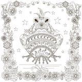 La rana dibujada mano monocromática del garabato con la flecha en la boca, corona, protagoniza el marco de las flores stock de ilustración