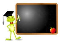 La rana más elegante en escuela ilustración del vector