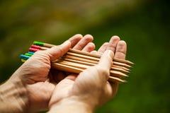 La rangée de couleur crayonne dans des mains sur le buisson vert Photo stock
