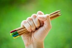 La rangée de couleur crayonne dans des mains sur le buisson vert Images libres de droits