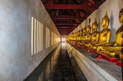La rangée des buddhas d'or et foncés a posé des statues Image stock